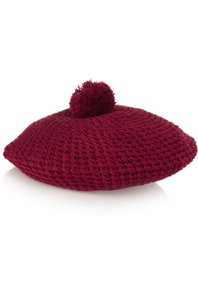 gucci female 124897 gucci crocheted cotton beret claret