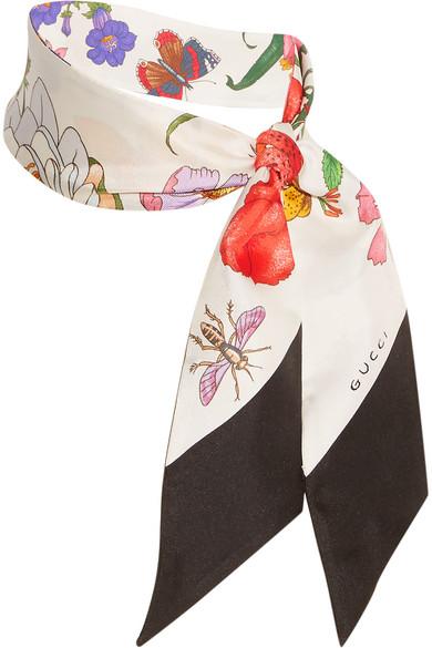 cafb63f6 Floral-print silk-twill scarf