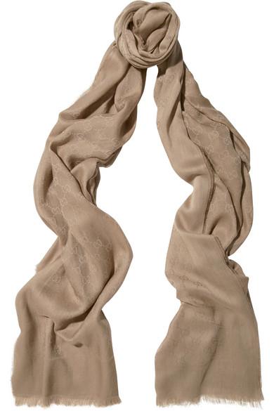 Gucci - Cotton-jacquard Scarf - Sand