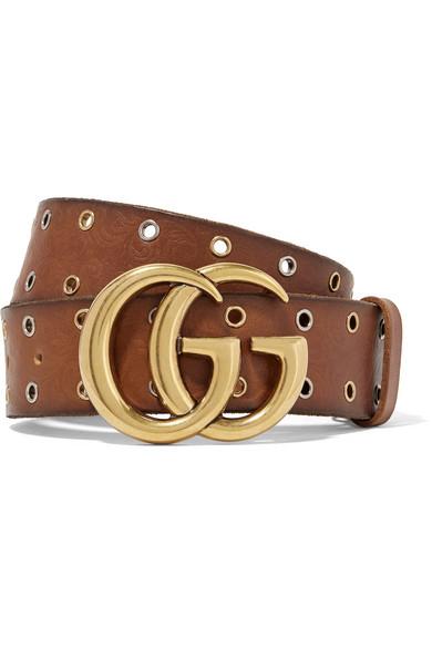 Gucci - Eyelet-embellished Embossed Leather Waist Belt - Brown
