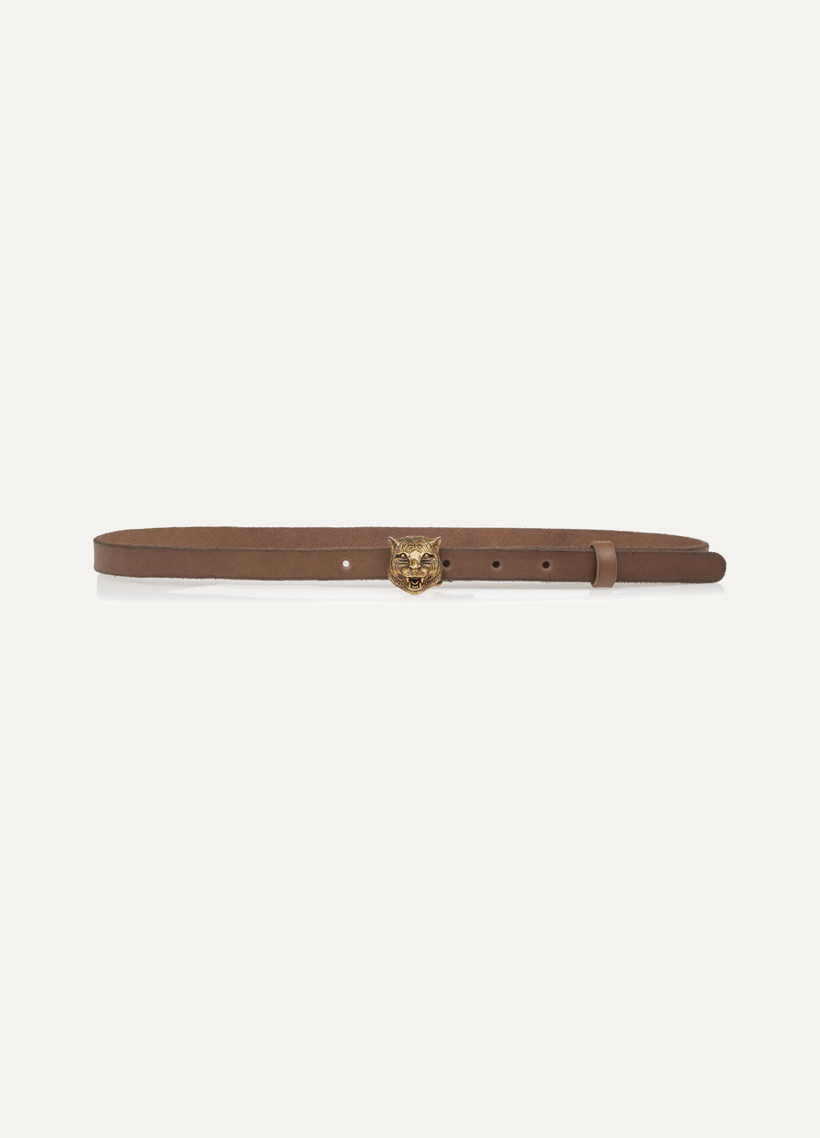 Gucci Leather Belt, Brown, Women's, Size: 75