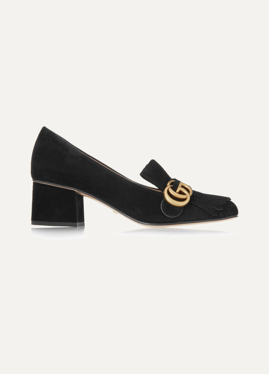 Gucci Fringed Suede Loafers, Black, Women's US Size: 6.5, Size: 37