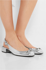 Horsebit-detailed metallic leather slingback flats