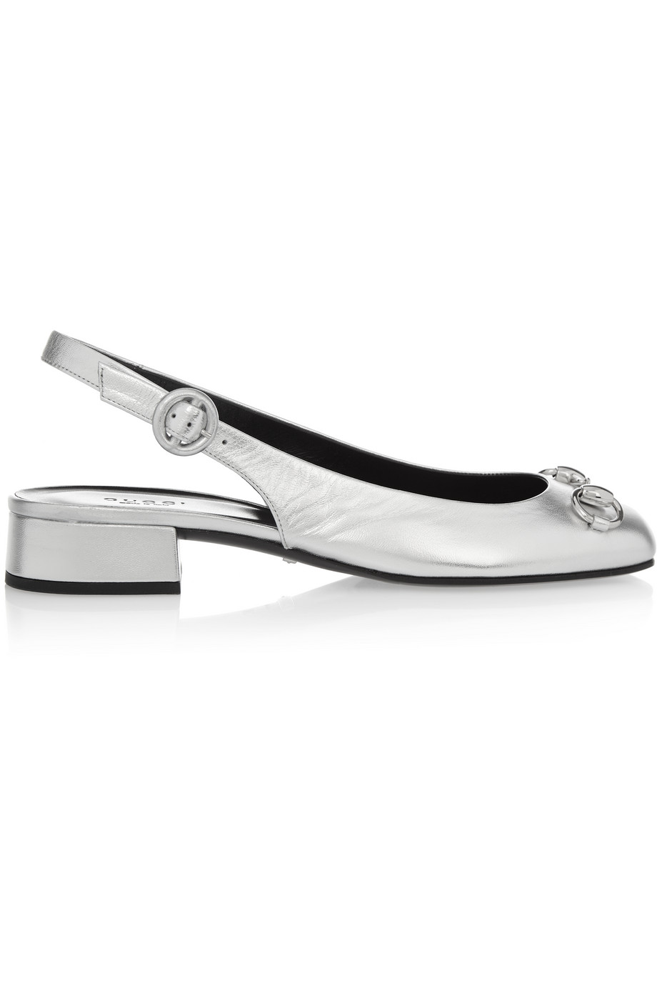 Gucci Horsebit-Detailed Metallic Leather Slingback Flats, Silver, Women's US Size: 8.5, Size: 39