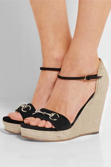 Gucci Horsebit Detailed Suede Espadrille Wedge Sandals