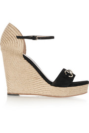 Horsebit-detailed suede espadrille wedge sandals