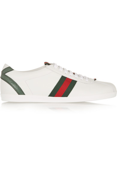 gucci female 45883 gucci new ace watersnaketrimmed leather sneakers white