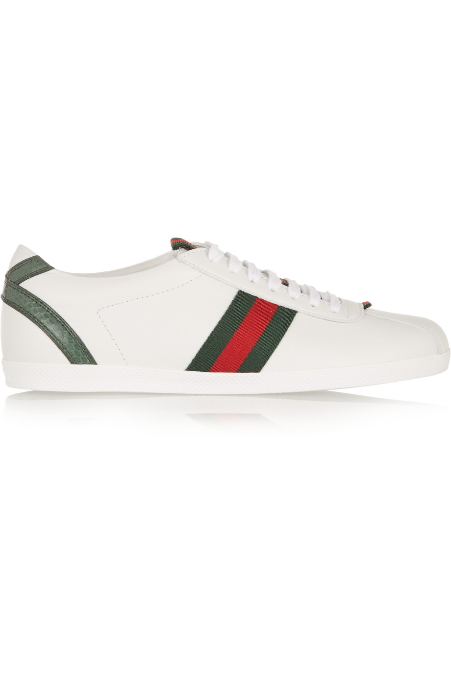 Gucci New Ace Watersnake-Trimmed Leather Sneakers, White, Women's US Size: 7.5, Size: 38