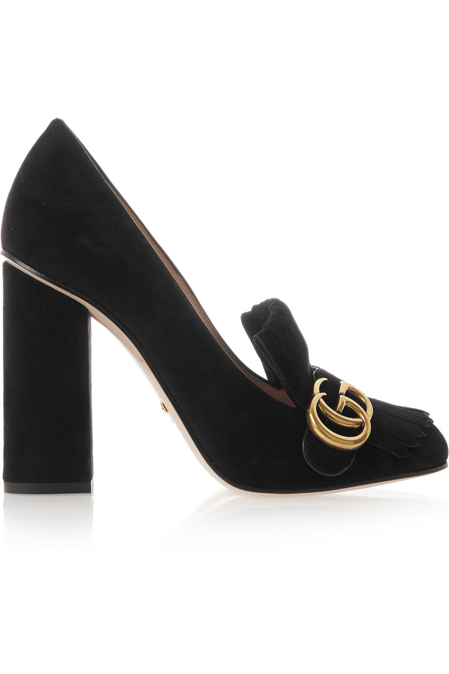Gucci Fringed Suede Pumps, Black, Women's US Size: 11, Size: 41.5