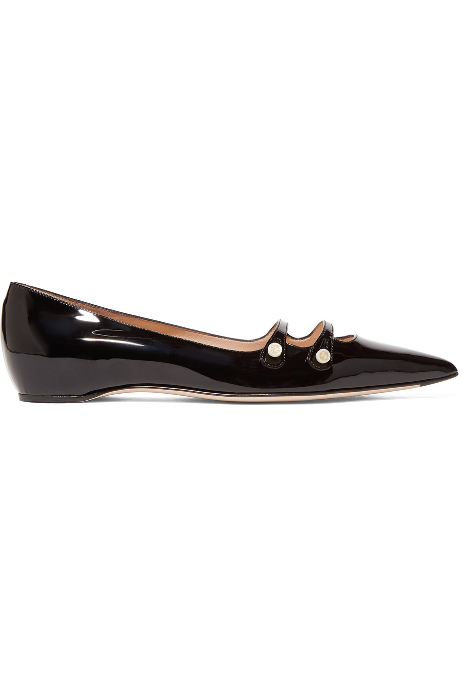 Gucci Patent-Leather Point-Toe Flats, Black, Women's US Size: 10, Size: 40.5