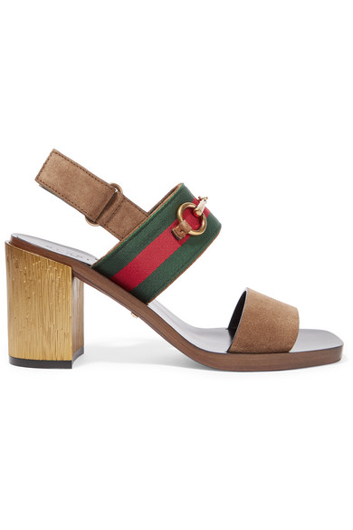 gucci female 211468 gucci horsebitdetailed suede sandals brown