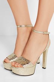 Gucci Metallic cracked-leather platform sandals