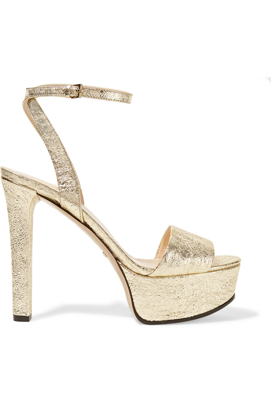 Gucci Metallic Cracked-Leather Platform Sandals, Gold, Women's US Size: 6.5, Size: 37