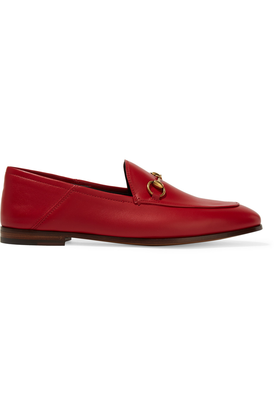 Gucci Horsebit-Detailed Leather Loafers, Red, Women's US Size: 5.5, Size: 36