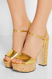 Gucci Metallic leather and cork platform sandals