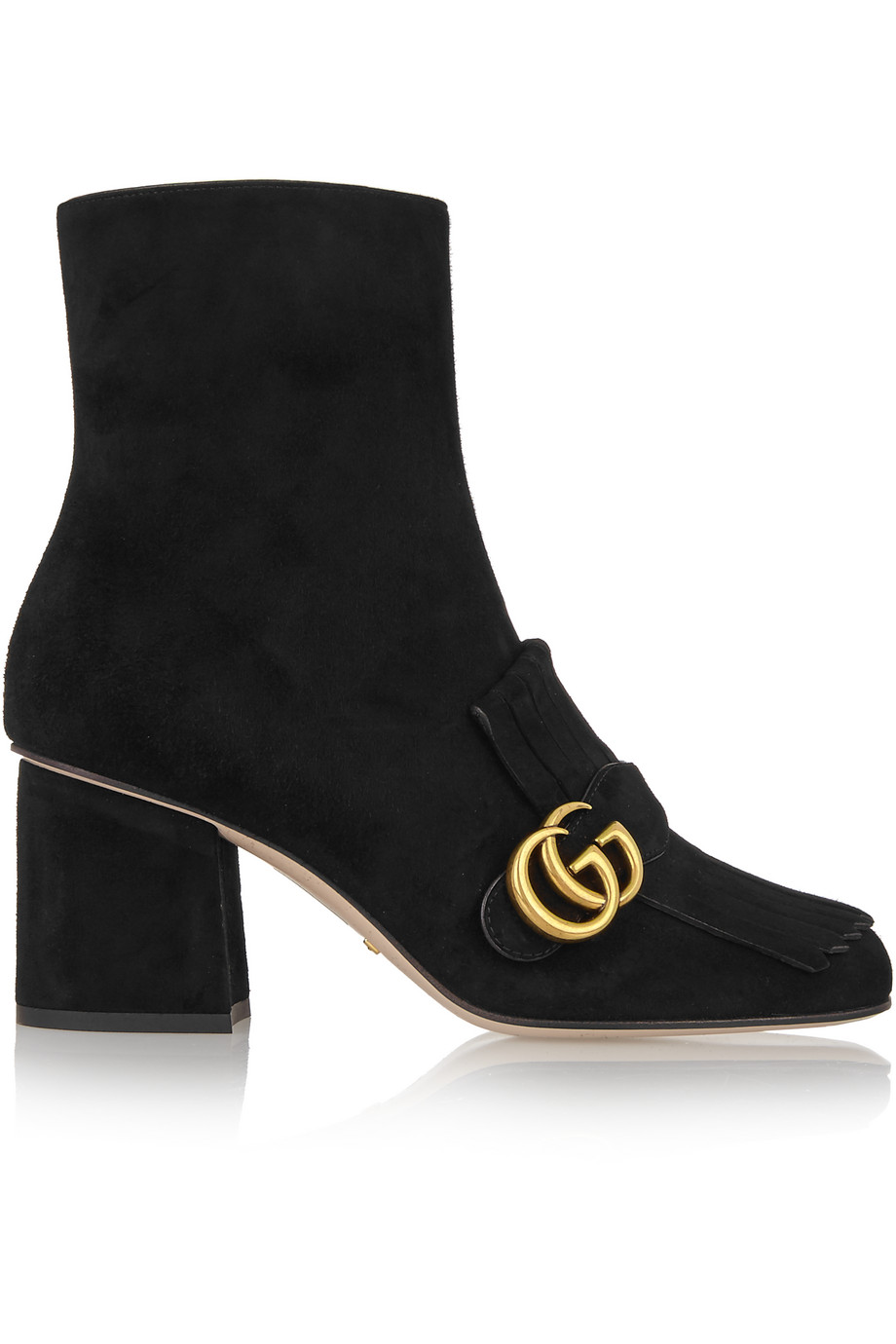 Gucci Fringed Suede Ankle Boots, Black, Women's US Size: 5, Size: 35.5