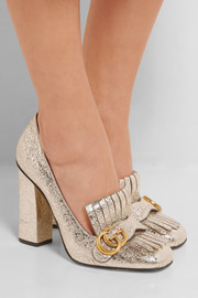 Fringed cracked-leather pumps
