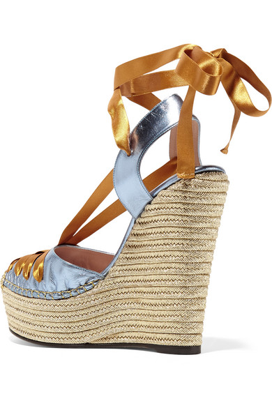 419ce26bdbb8 Gucci. Metallic leather and satin espadrille wedge sandals.  650. Zoom In