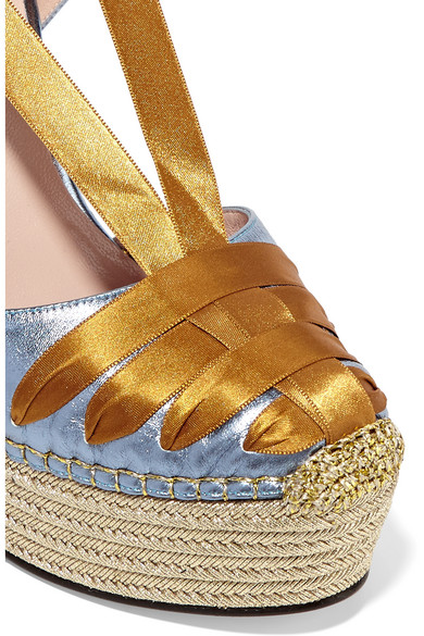4df4ce502868b Gucci. Metallic leather and satin espadrille wedge sandals.  650. Zoom In