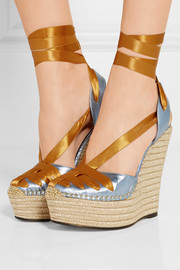 Metallic leather and satin espadrille wedge sandals