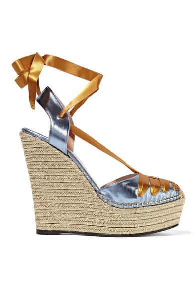 302a7da71856 Gucci. Metallic leather and satin espadrille wedge sandals