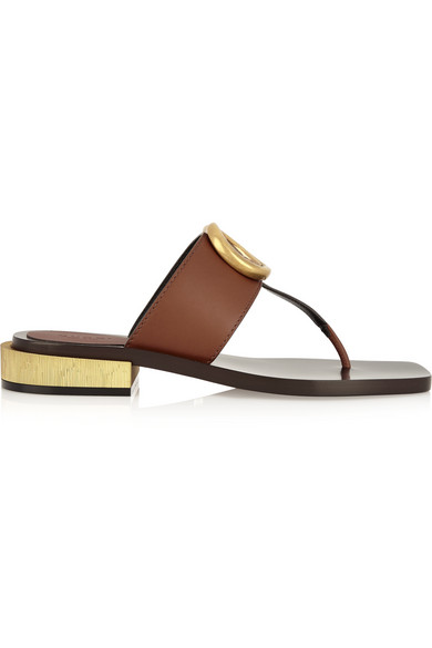 Gucci - Embellished Leather Sandals - Brown