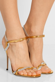 Gucci Two-tone metallic leather sandals