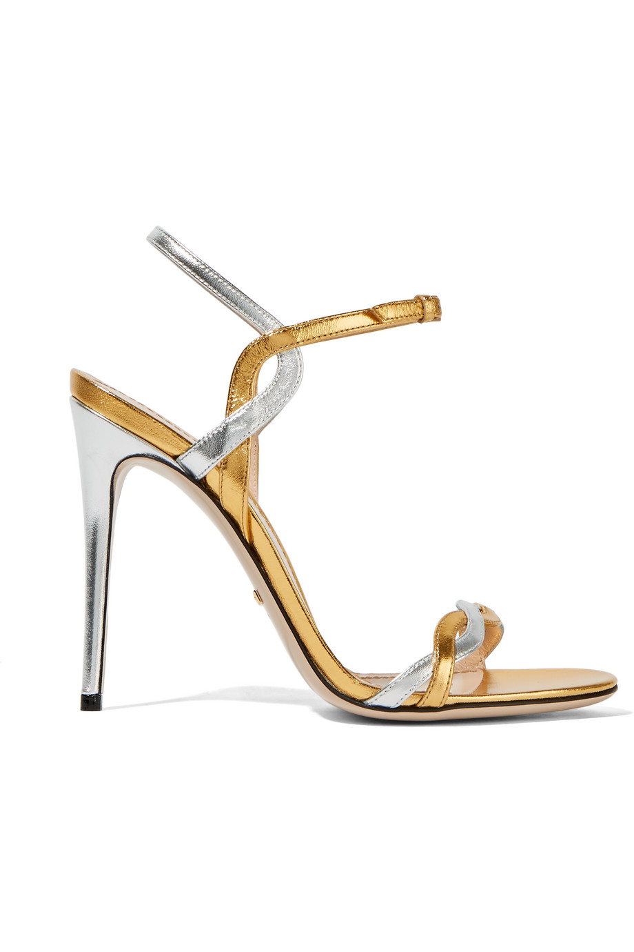 Gucci Two-Tone Metallic Leather Sandals, Gold/Metallic, Women's US Size: 6, Size: 36.5