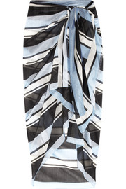 Striped cotton and silk-blend voile pareo