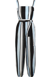 Striped cotton-poplin jumpsuit