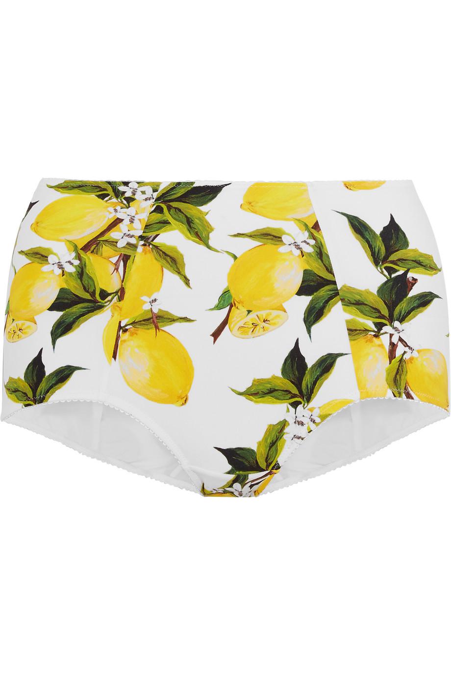 Dolce & Gabbana Printed Bikini Briefs, Yellow, Women's, Size: 1