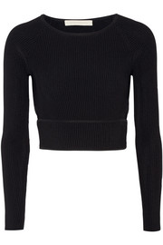 Cutout ribbed stretch-knit top
