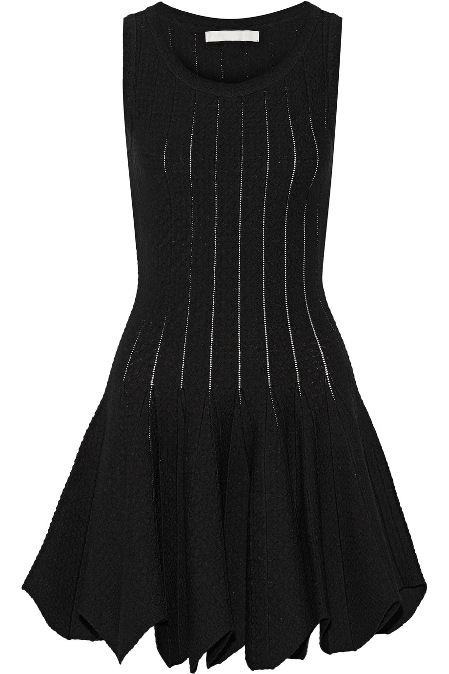 Pointelle-Paneled Stretch-Knit Mini Dress, Jonathan Simkhai, Black, Women's