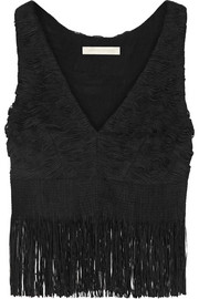 Fringed appliquéd tulle top