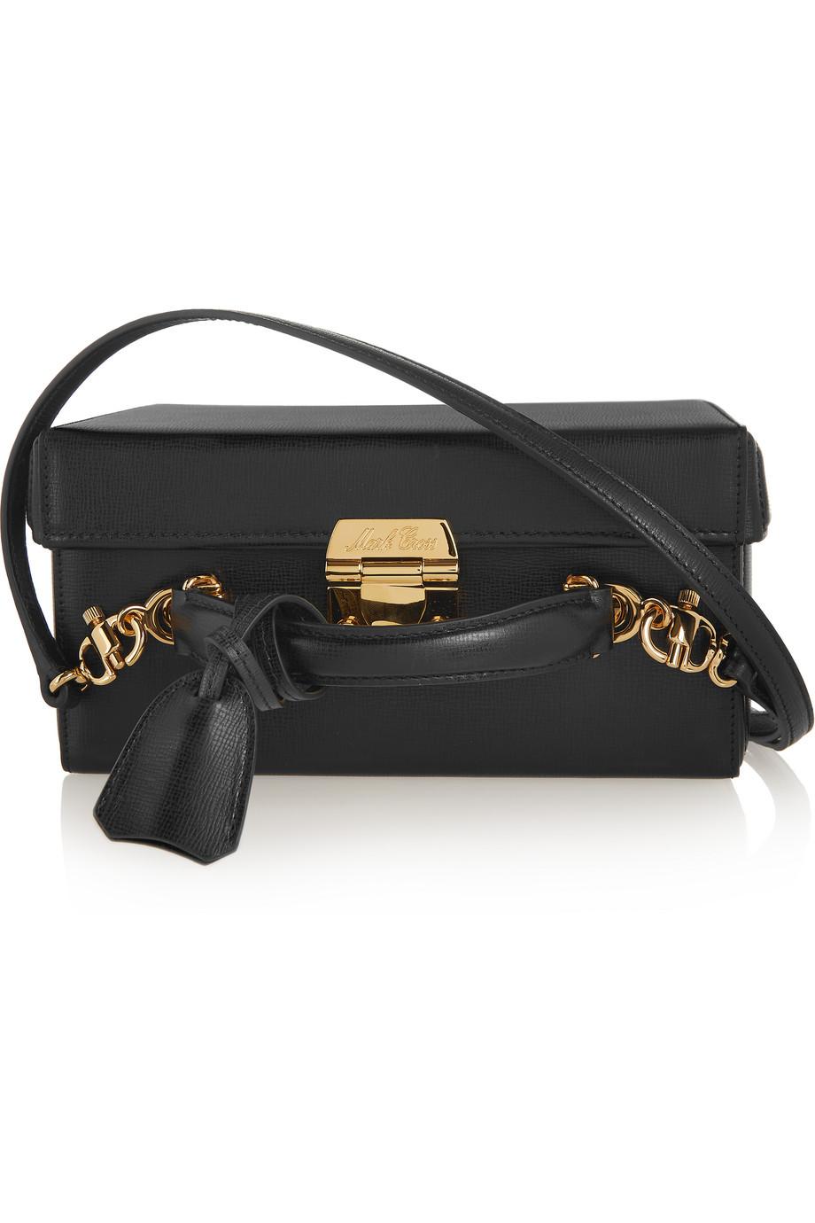Mark Cross Grace Large Textured-Leather Shoulder Bag, Black, Women's