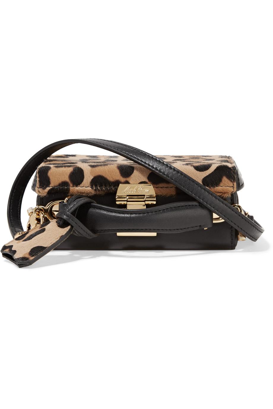 Mark Cross Grace Mini Leopard-Print Calf Hair and Leather Shoulder Bag, Leopard Print, Women's