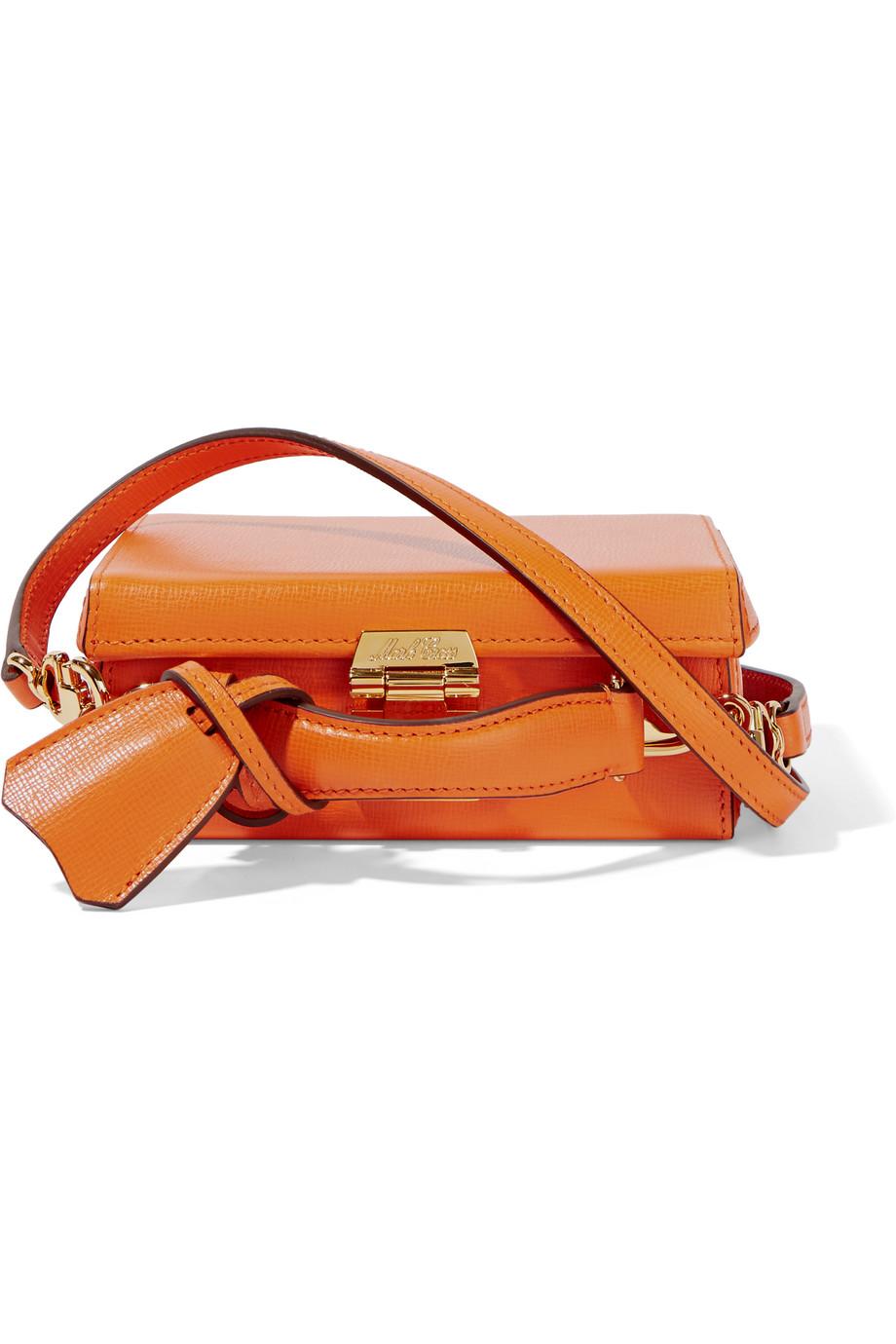Mark Cross Grace Mini Textured-Leather Shoulder Bag, Orange, Women's