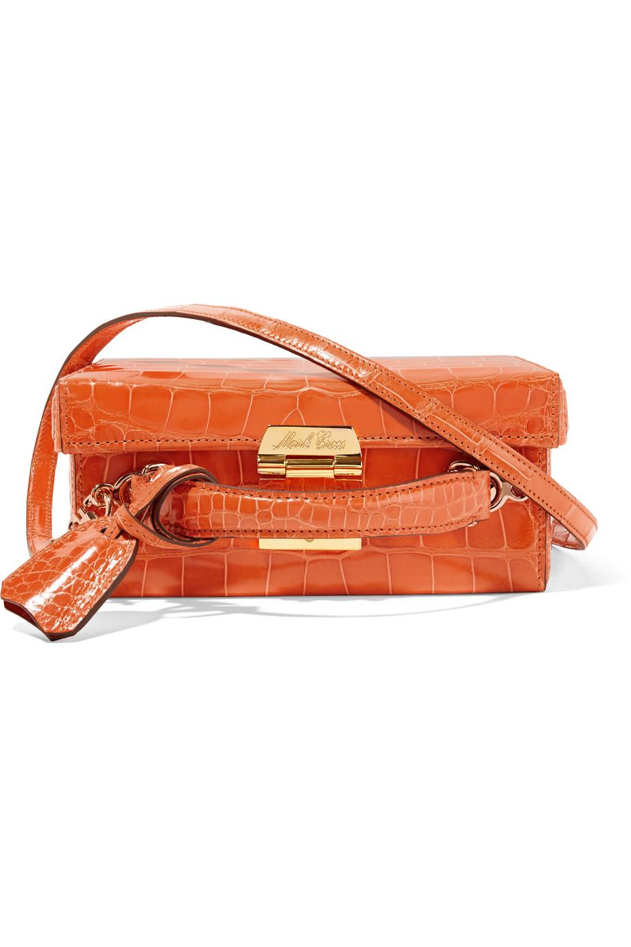 Mark Cross Grace Small Crocodile Shoulder Bag, Bright Orange, Women's