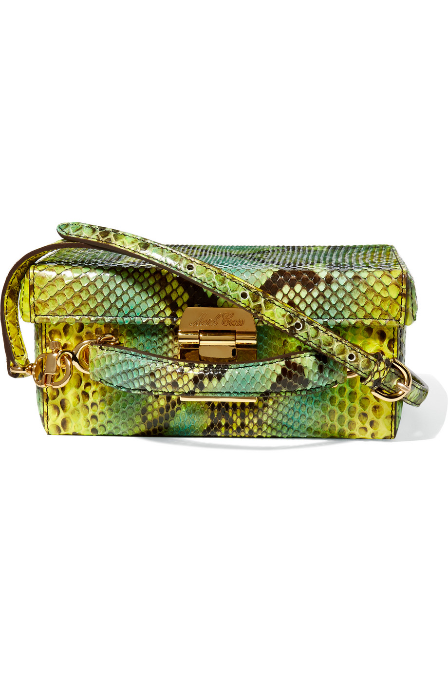 Mark Cross Grace Small Python and Leather Shoulder Bag, Green/Snake Print, Women's