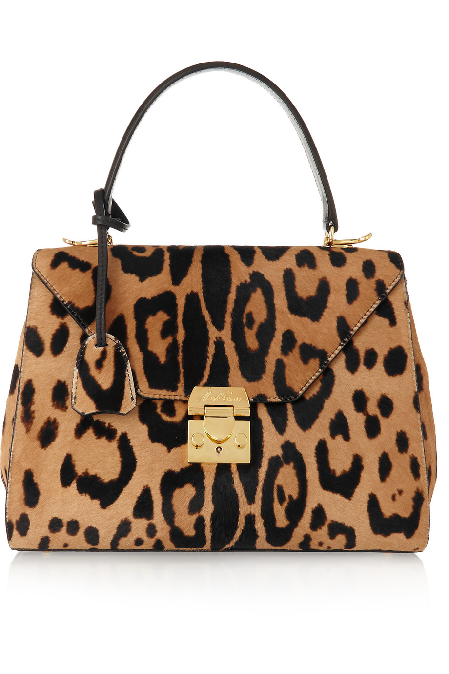 Mark Cross Hadley Small Leopard-Print Calf Hair Shoulder Bag, Leopard Print, Women's