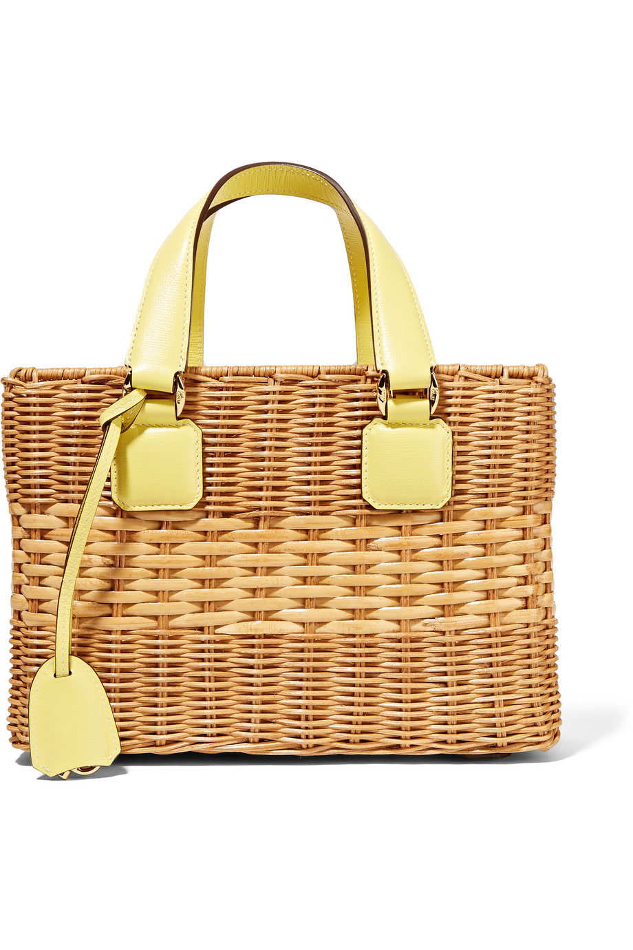 Mark Cross Manray Small Textured Leather-Trimmed Rattan Tote, Yellow/Beige, Women's