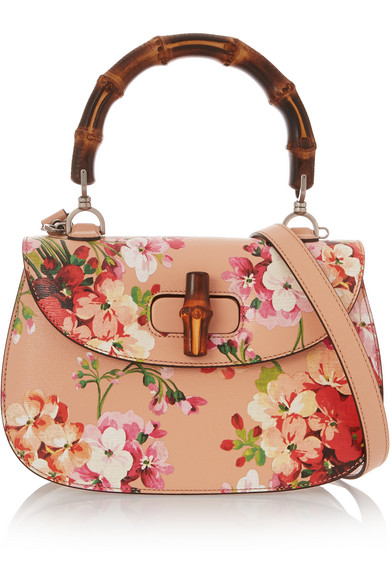 Gucci - Bamboo Classic Printed Textured-leather Shoulder Bag - Blush