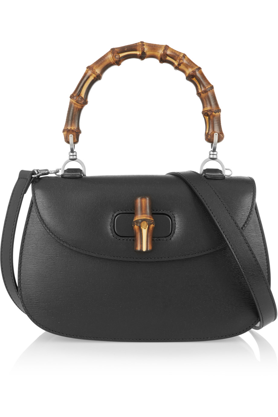 Gucci Bamboo Classic Textured-Leather Shoulder Bag, Black, Women's