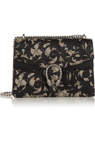 Gucci - Dionysus Large Leather-appliquéd Coated-canvas Shoulder Bag - Black