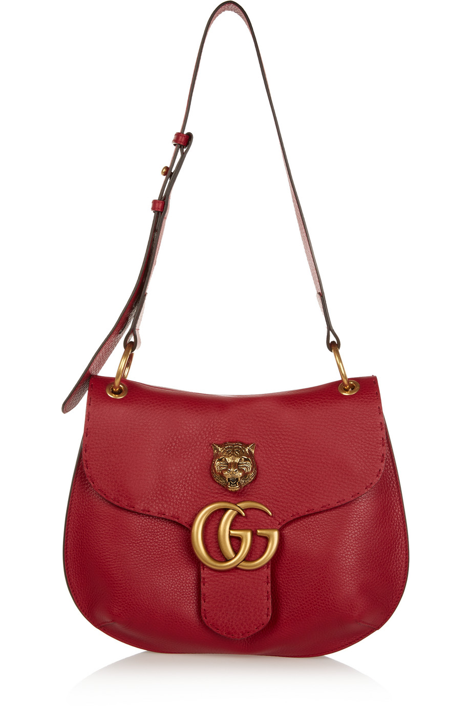 Gucci GG Marmont Textured-Leather Shoulder Bag, Red, Women's