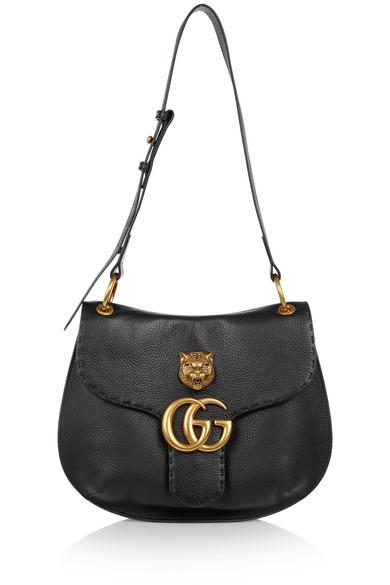 Gucci - Marmont Textured-leather Shoulder Bag - Black