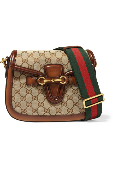 Gucci - Lady Web Medium Leather-trimmed Coated-canvas Shoulder Bag - Chocolate