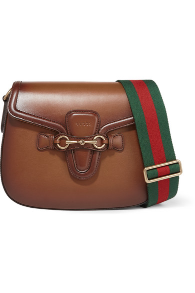 Gucci - Lady Web Small Leather Shoulder Bag - Brown