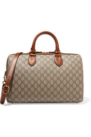 Gucci Linea A Boston leather-trimmed coated-canvas tote