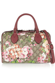 Gucci Linea A Boston leather-trimmed printed coated canvas shoulder bag